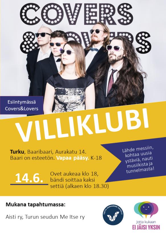 Villiklubi Turku 14.6. mainos
