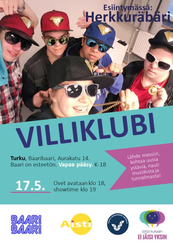 Villiklubi Turku 17.5. mainos