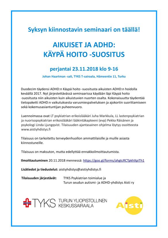 Aikuiset ja ADHD Käypä hoito suositus seminaari_juliste-1