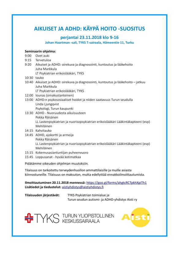 Aikuiset ja ADHD Käypä hoito suositus seminaari_ohjelma-1