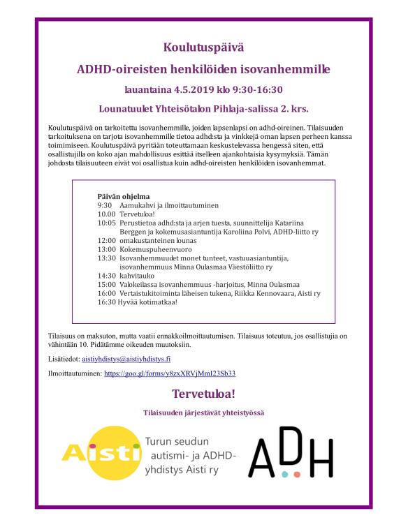 ADHD-henkilöiden isovanhempien koulutuspäivä 20190504-1