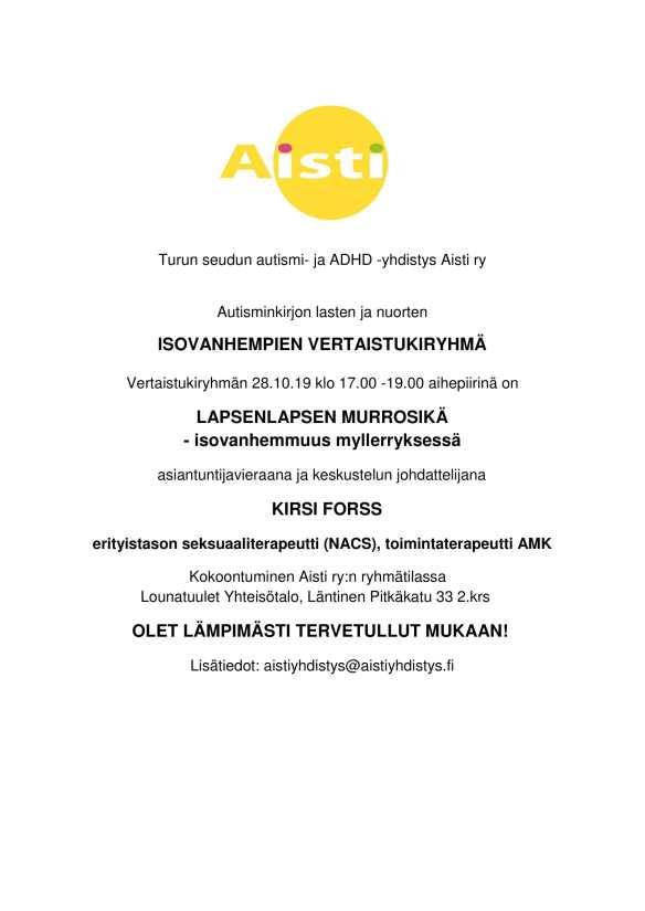 Autisminkirjon lasten ja nuorten isovanhempien vertaistukiryhmä 28.10.19-1